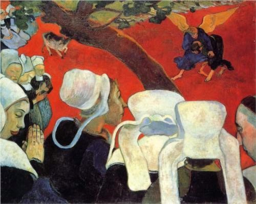 Paul Gauguin -The Vision after the Sermon (Jacob wrestling with the Angel) (1888)